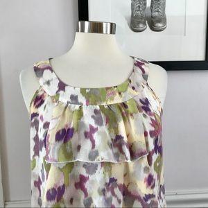LOFT Abstract Floral Sleeveless Blouse w/Ruffles